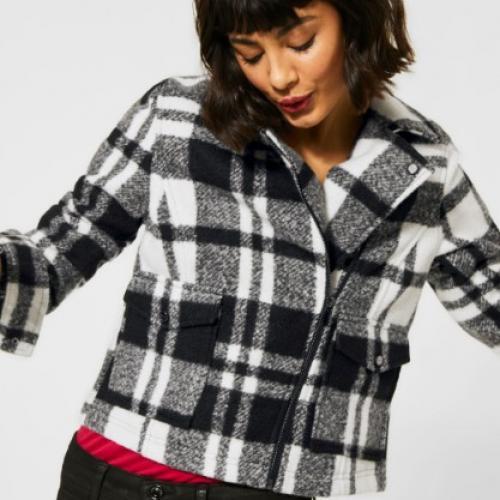 Veste Perfecto motif carreaux aspect en laine souple